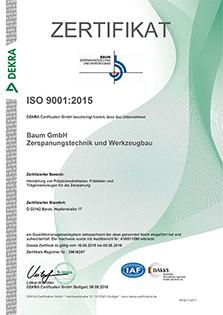 Baum GmbH ISO 9001 Zertifiziert